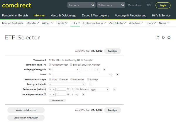 Das komplette Angebot im ETF Selector