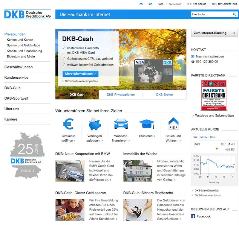 Der Web-Auftritt der DKB