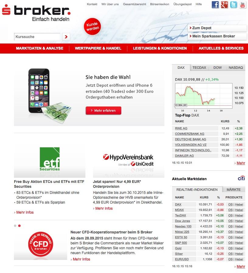 Die Homepage von S Broker