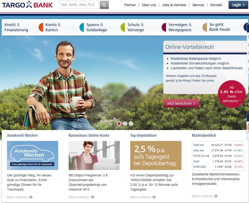 Der web-Auftritt der TARGOBANK