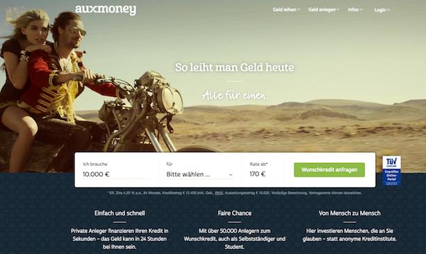 auxmoney Webseite