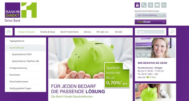 Bank11direkt Sparbriefkonten