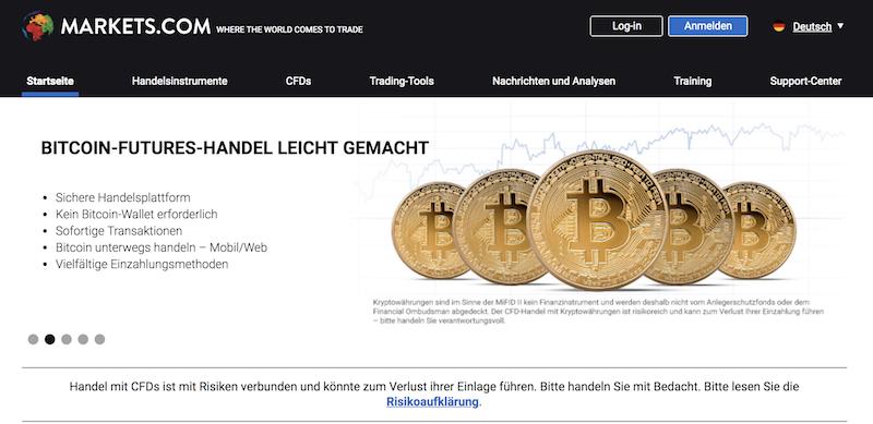 Markets.com Webseite