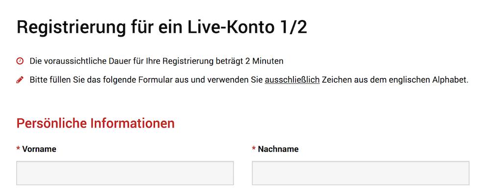 XM.com Kontoeröffnung