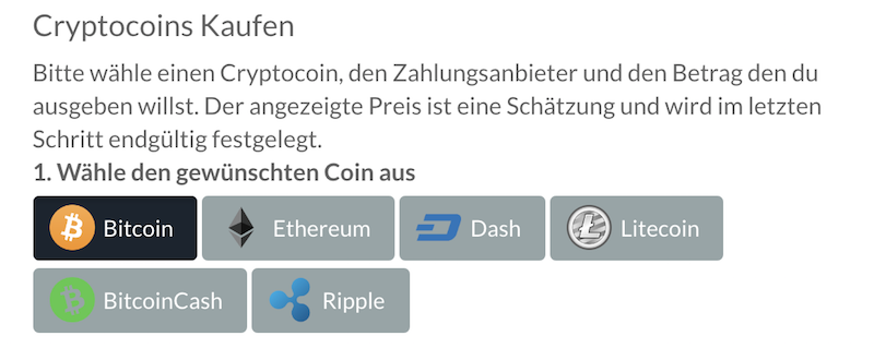 BitPanda Kryptowährungen Auswahl