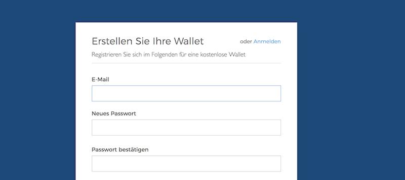 Blockchain.info Wallet Eröffnung