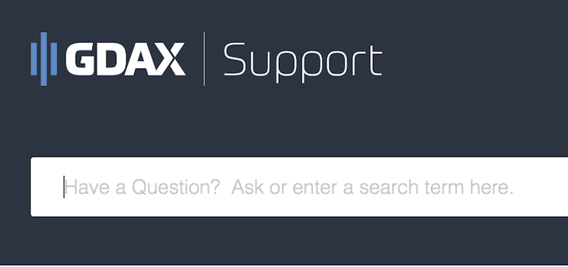 GDAX Support