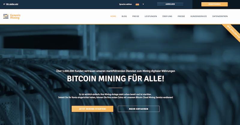 Genesis Mining Webseite