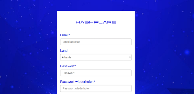 HashFlare Anmeldung
