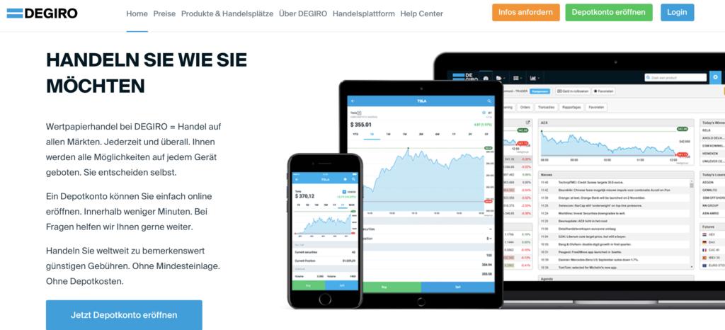 DEGIRO ermöglicht den Handel per Smartphone, Tablet oder PC