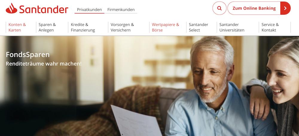 Santander Bank Fondssparpläne