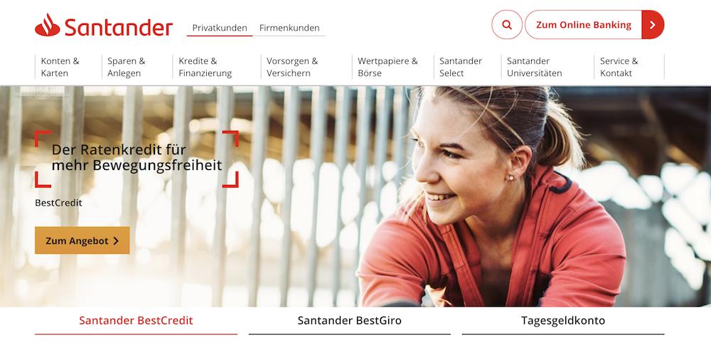 Sina Produkt der Santander Bank