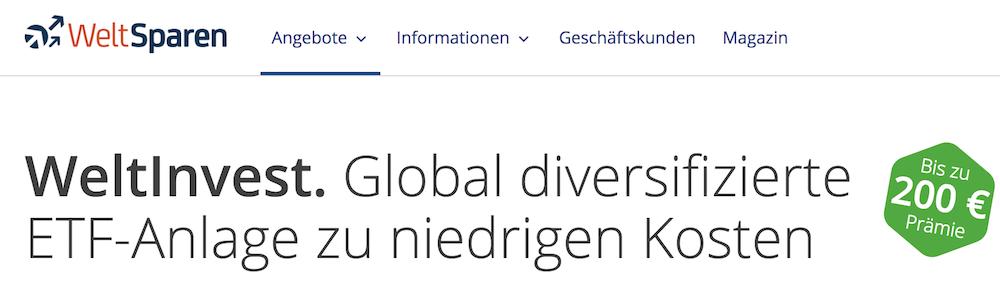 WeltInvest ETF-Anlage WeltSparen