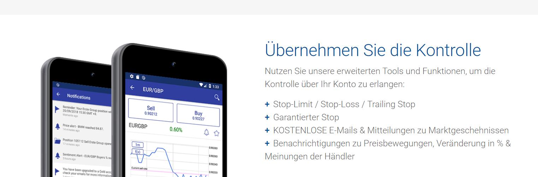 Mit der Plus500 App kann auch von unterwegs gehandelt werden